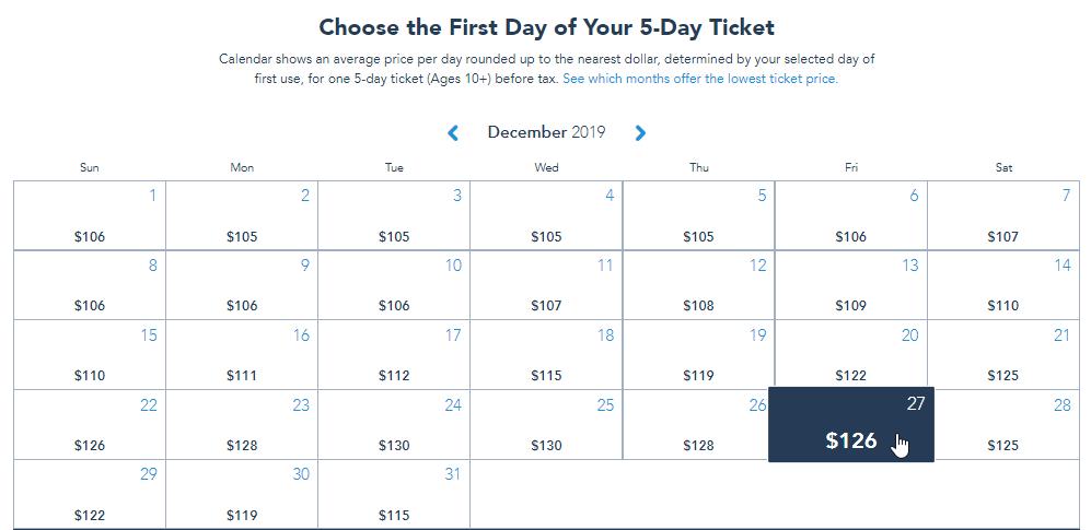 December 2019 calendar with ticket pricing
