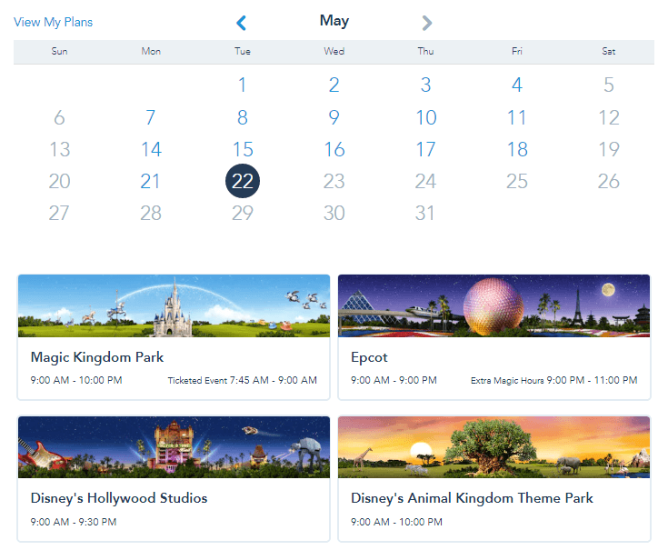screenshot of what choosing fast passes look like, calendar option to choose a date and then images of each park with opening and closing times listed