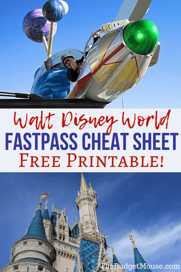 Free printable FastPass+ cheat sheet for planning your Disney World vacation! Tips and tricks for using the FastPass system at Walt Disney World for your next trip. Fast Pass can save you time if you know how to use it! #disneyworld #vacationplanning