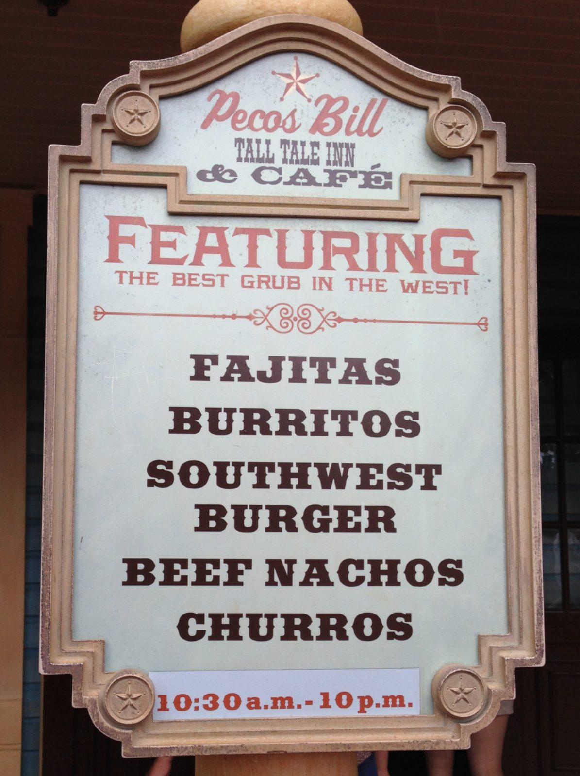 Pecos Bill tall tale inn and cafe menu sign