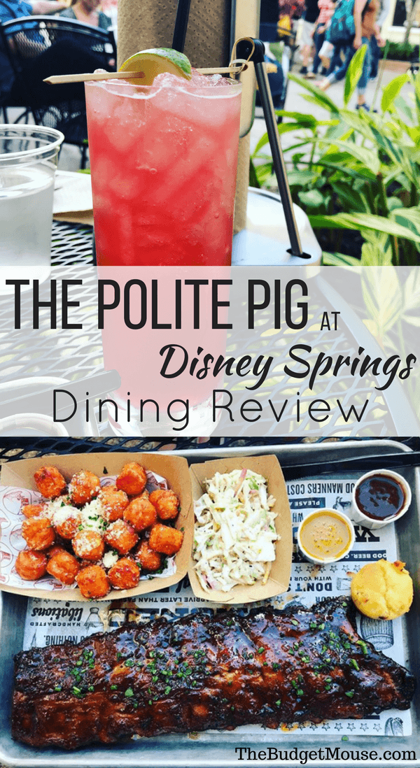 A review of The Polite Pig at Disney Springs! Quick service fast casual BBQ at Disney World that's a great value on the Disney Dining Plan. #disneyworld #disneydiningplan