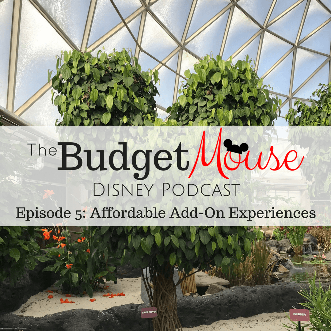 budget mouse disney podcast image with living on the land plants in the background