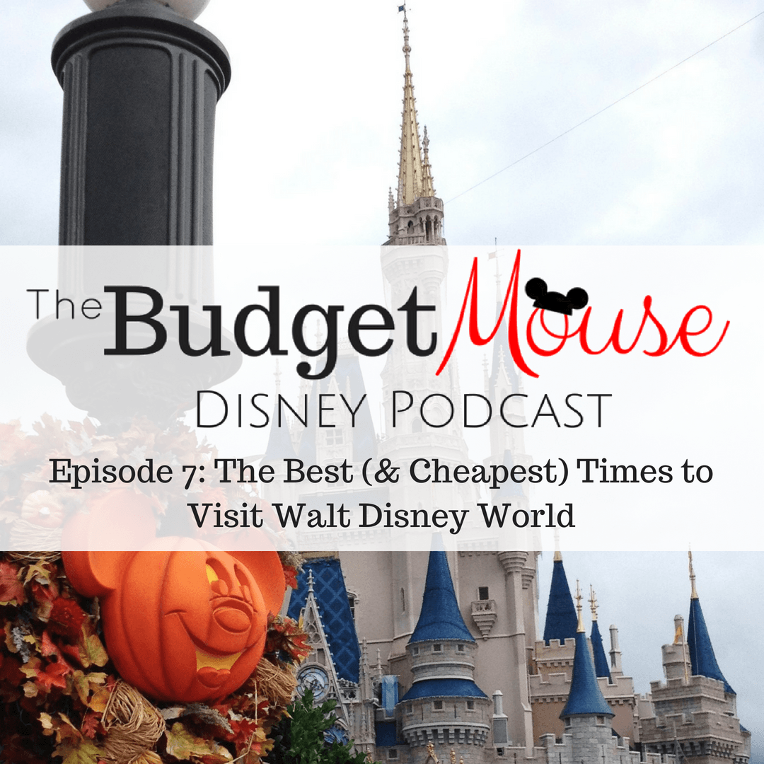 budget mouse disney podcast image with cinderellas castle in the background and a mickey mouse pumpkin in the foreground