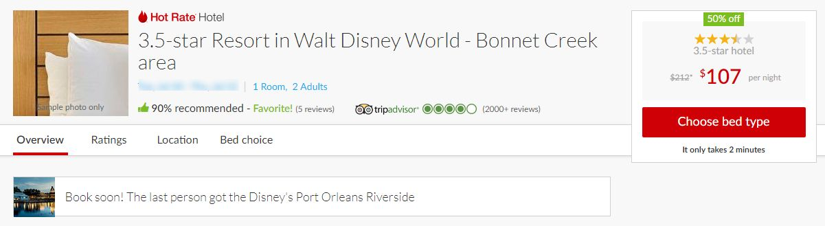 screenshot of hotwire deal for disney resort with pricing