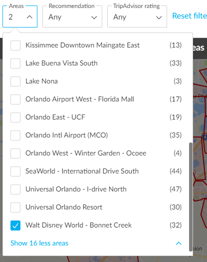 screenshot with walt disney world - bonnet creek location checked