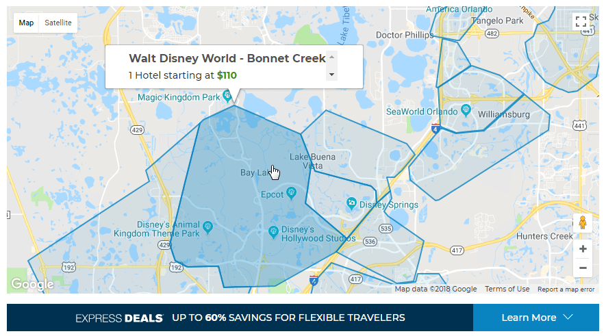 map of orlando showing bonnet creek