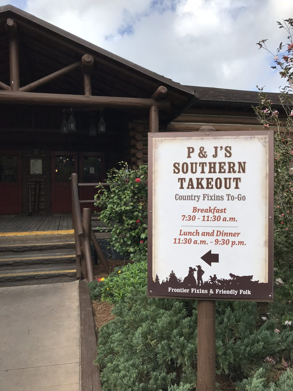 P & J's Southern Takeout Entrance Sign with eating times