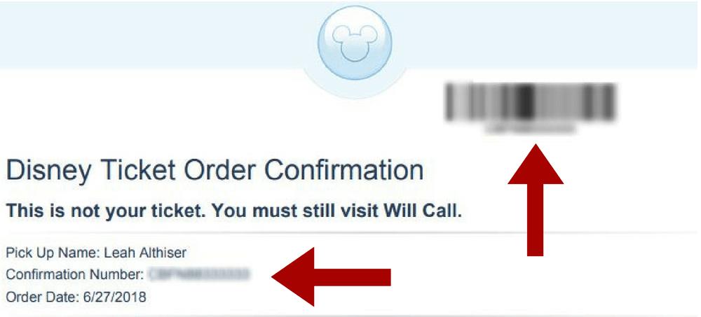 example of disney ticket order confirmation