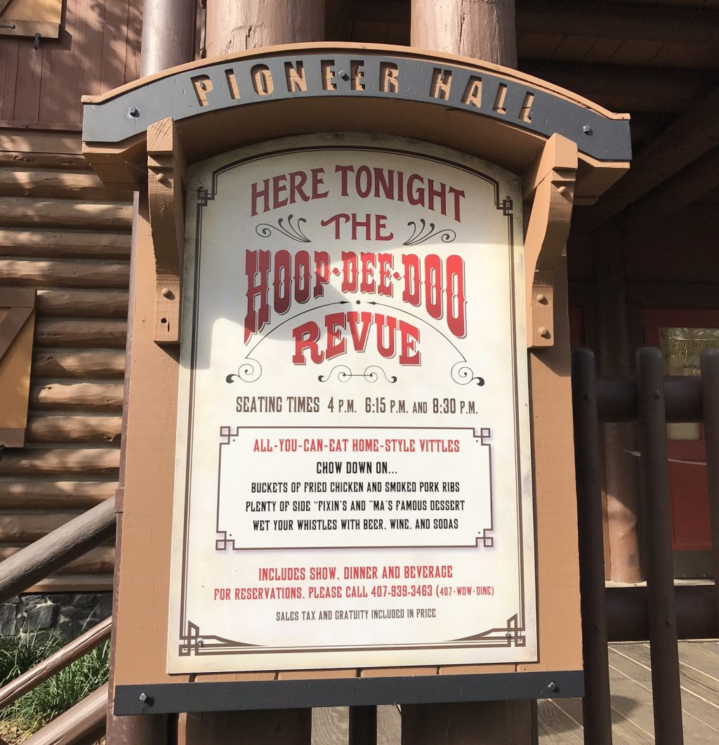 Sign for the Hoop Dee Doo Revue dinner and show