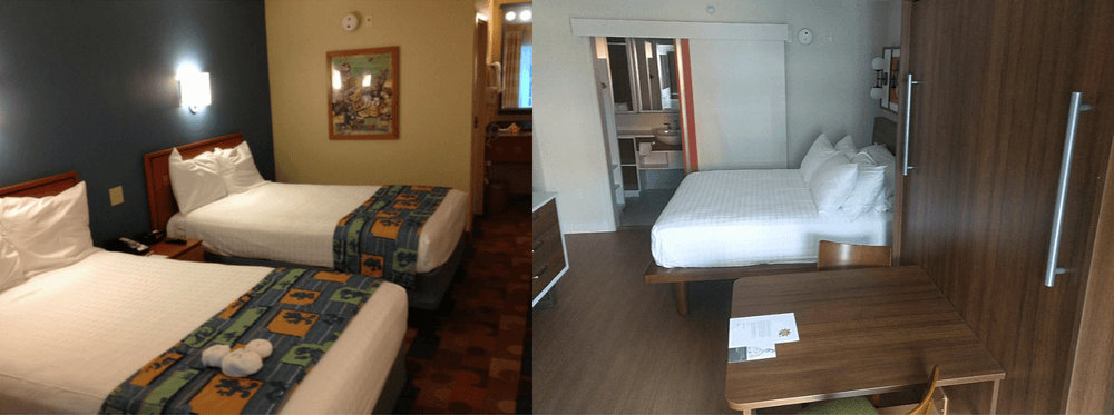 before and after photo of the rooms