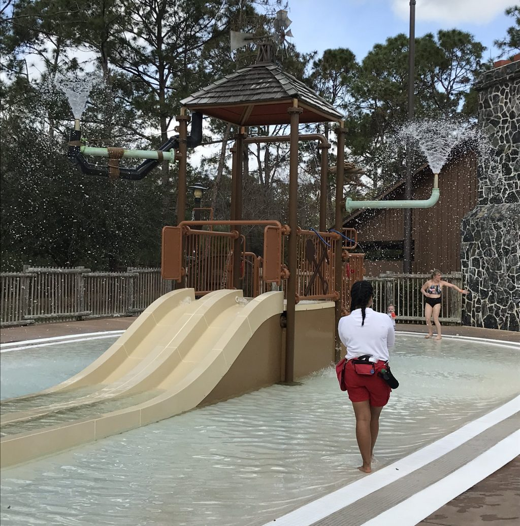 Lifeguard watching over the Water slide at Fort Wilderness Campground