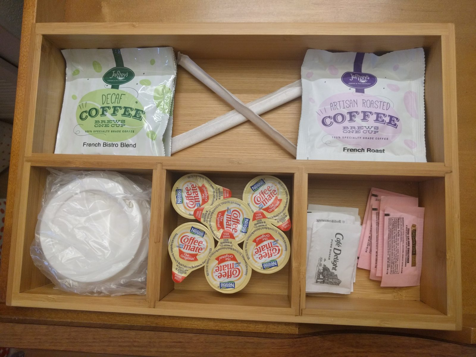 coffee, sugar, creamer options in the drawer