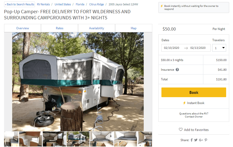 Screen shot of a website that will deliver RV Campers to Fort Wilderness Campsites, pricing included
