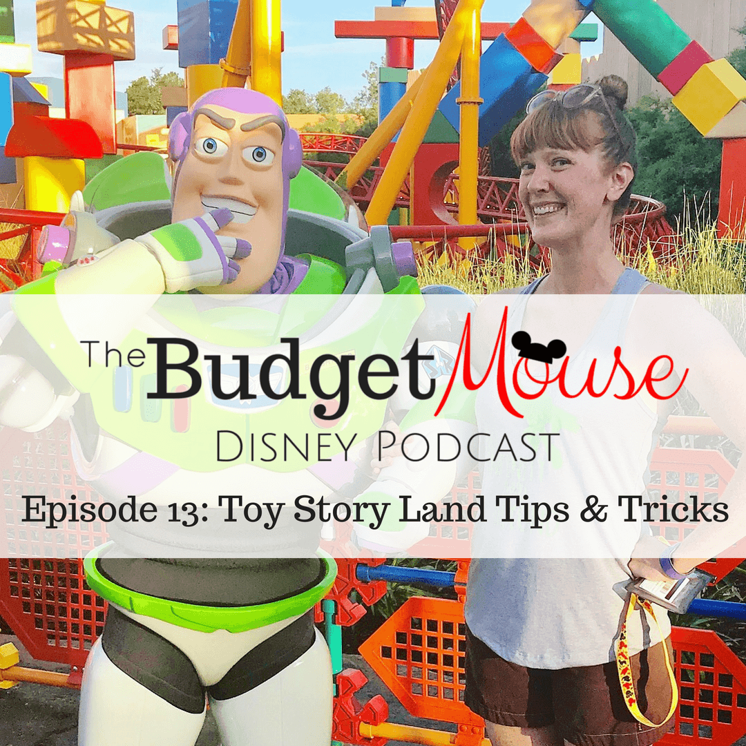 budget mouse podcast image with woman posing with buzz light year