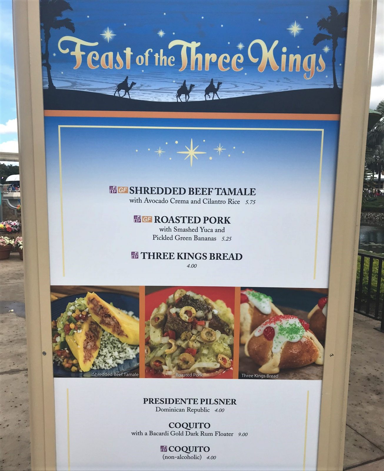 feast of the three kings sign with menu items
