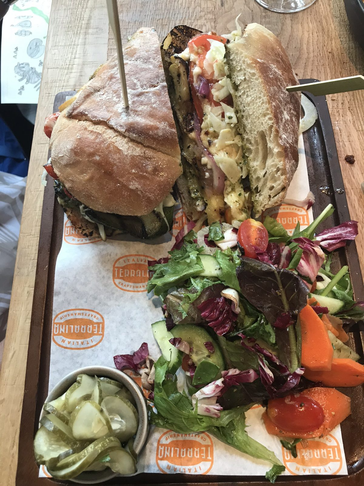 grilled veggie lunch sandwich and salad