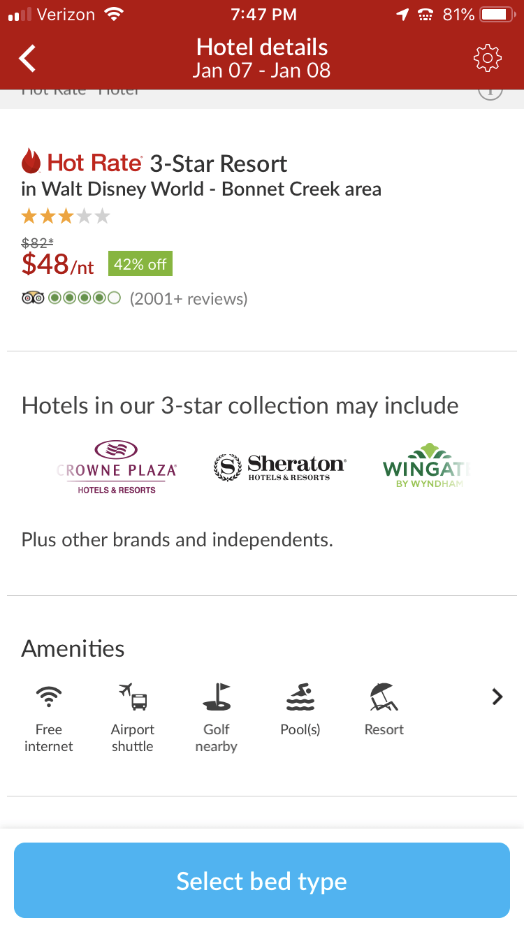 mobile screenshot of hotwire deal for disney resort