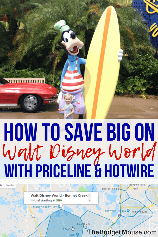 How to save BIG on Disney World hotels using Priceline and Hotwire! Tips and tricks for doing Disney World on a budget. Hacks for finding Disney resorts as mystery hotels. #disneyworld #traveltips