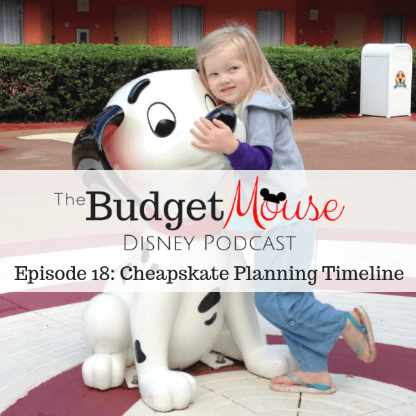 budget mouse podcast image with little girl hugging 101 dalmatian puppy statue