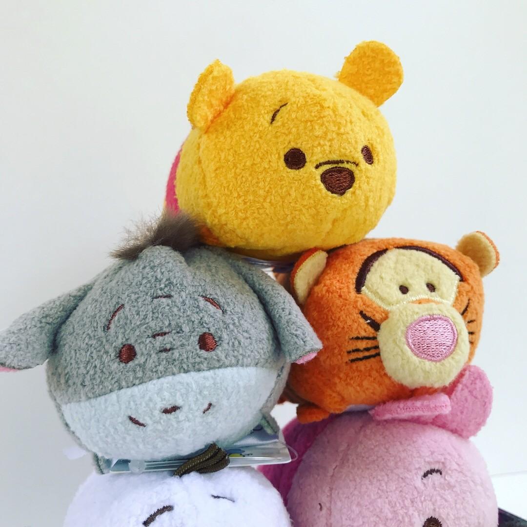 close up of pooh, tigger, and eeyore tsum tsum