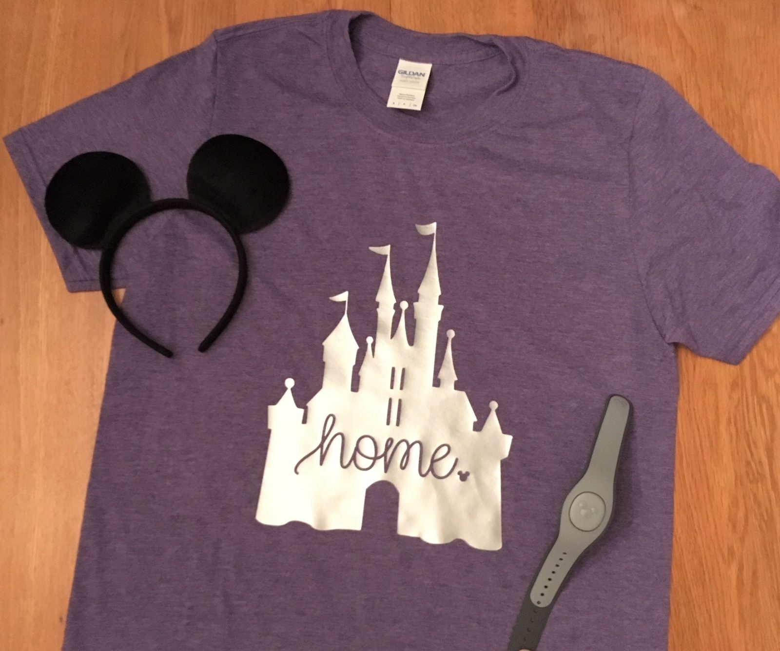 """disney castle """"home"""" tshirt with magic band and mickey ears"""