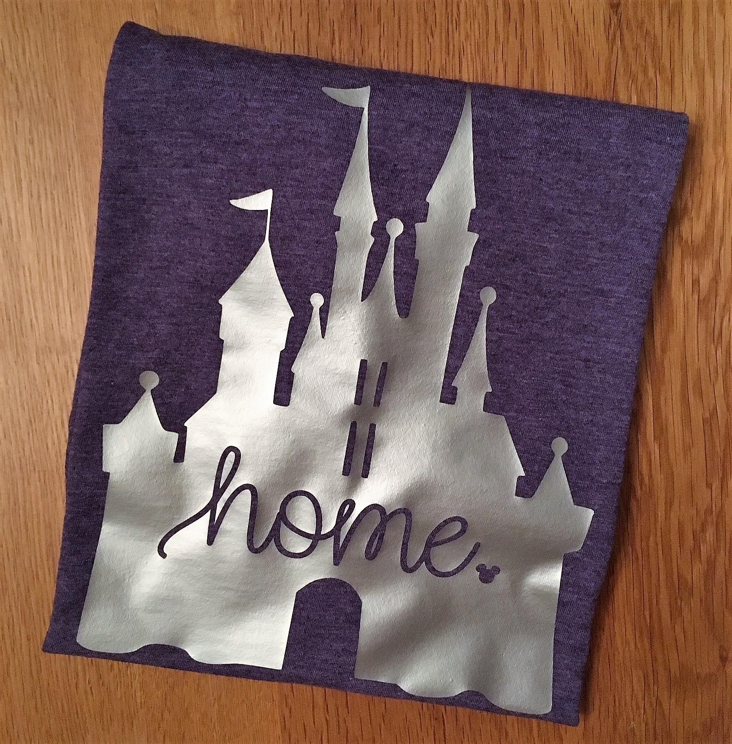 disney castle home tshirt, folded up to showcase image