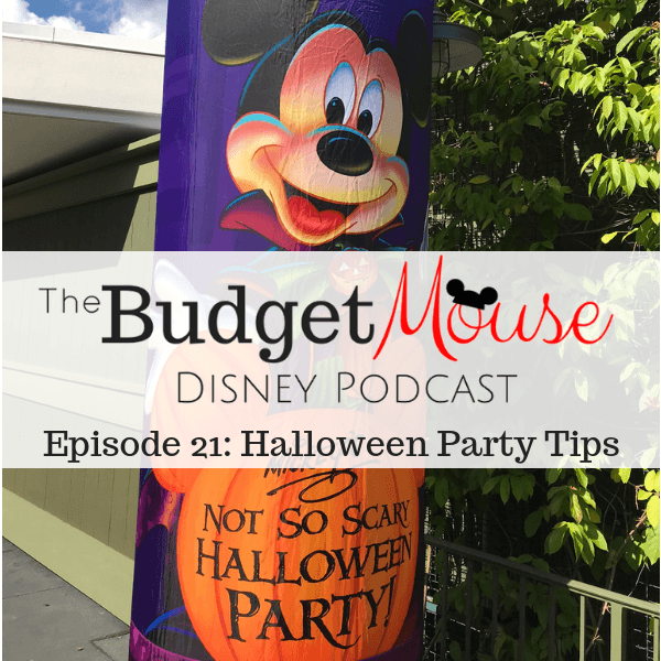 budget mouse podcast image of trick or treat blow up sign