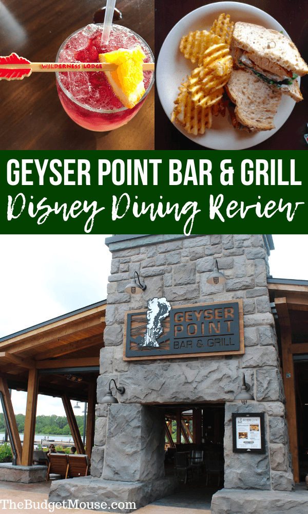 Review of Geyser Point Bar and Grill at Disney's Wilderness Lodge - how to use the Dining plan, what to eat, how it works, etc. Get Disney World planning tips, tricks, and hacks plus learn how to plan a Disney vacation on a budget at The Budget Mouse. #disneyworld #traveltips
