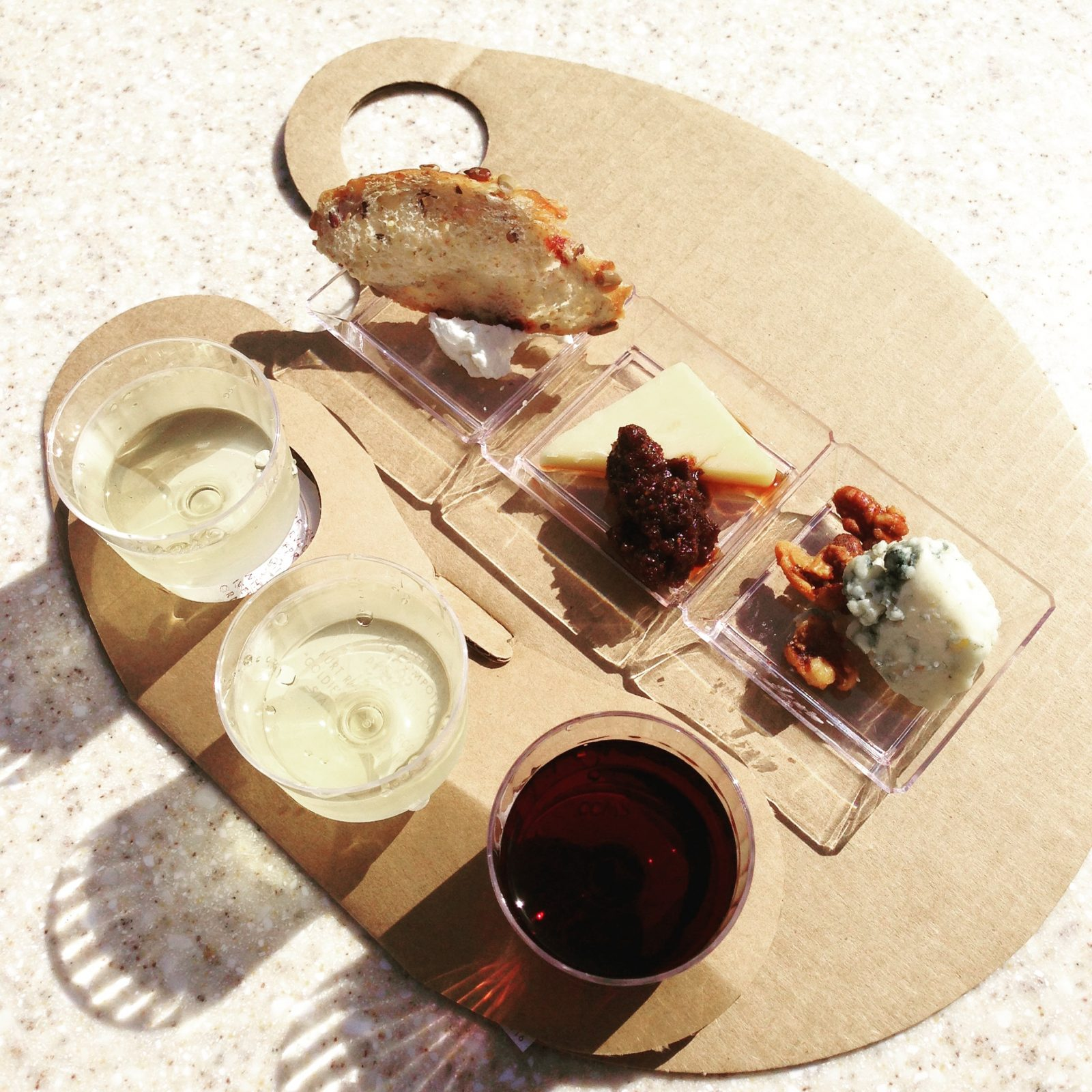 wine flight and cheese from epcot food and wine festival