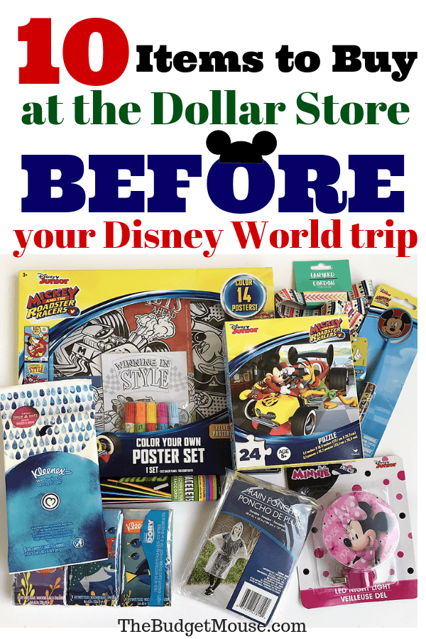10 items to buy at the Dollar store BEFORE you go to Disney World to save money on your trip! Get tips, tricks, and hacks for Disney World plus planning advice at The Budget Mouse! #disneyworld #traveltips