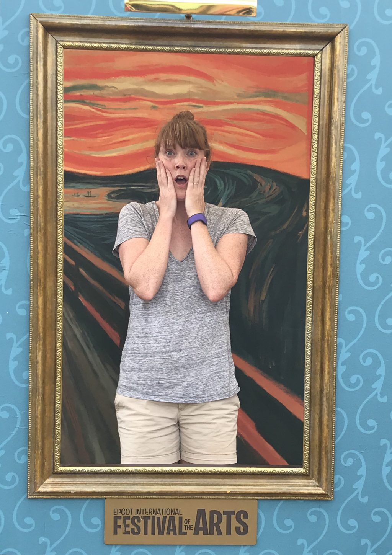 woman posing as the scream photo