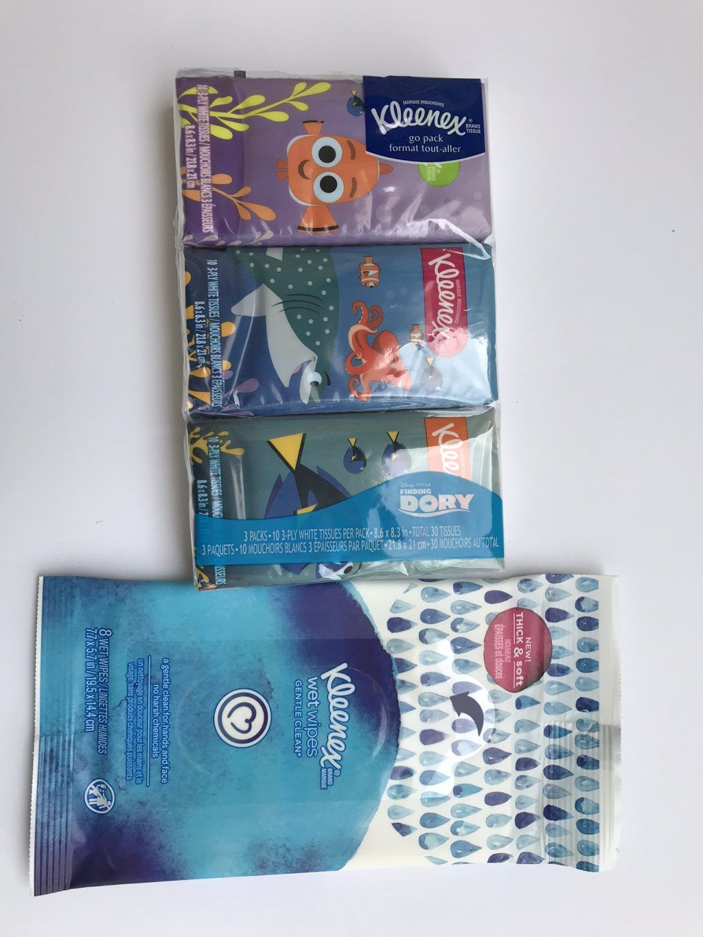 finding dory tissues and kleenex
