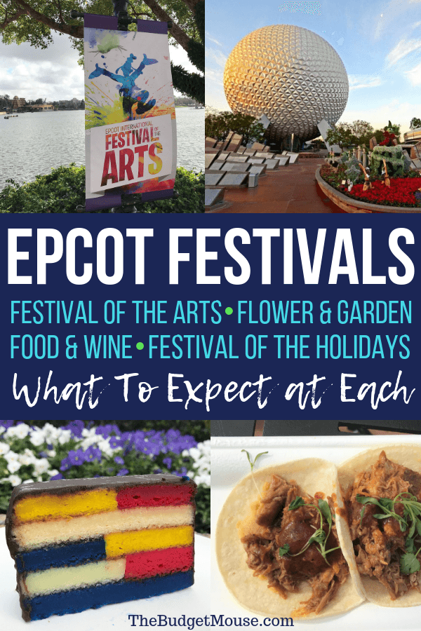 Epcot festivals: Festival of the Arts, Flower & Garden, Food & Wine,  Festival of the Holidays. What to expect at each pinterest image
