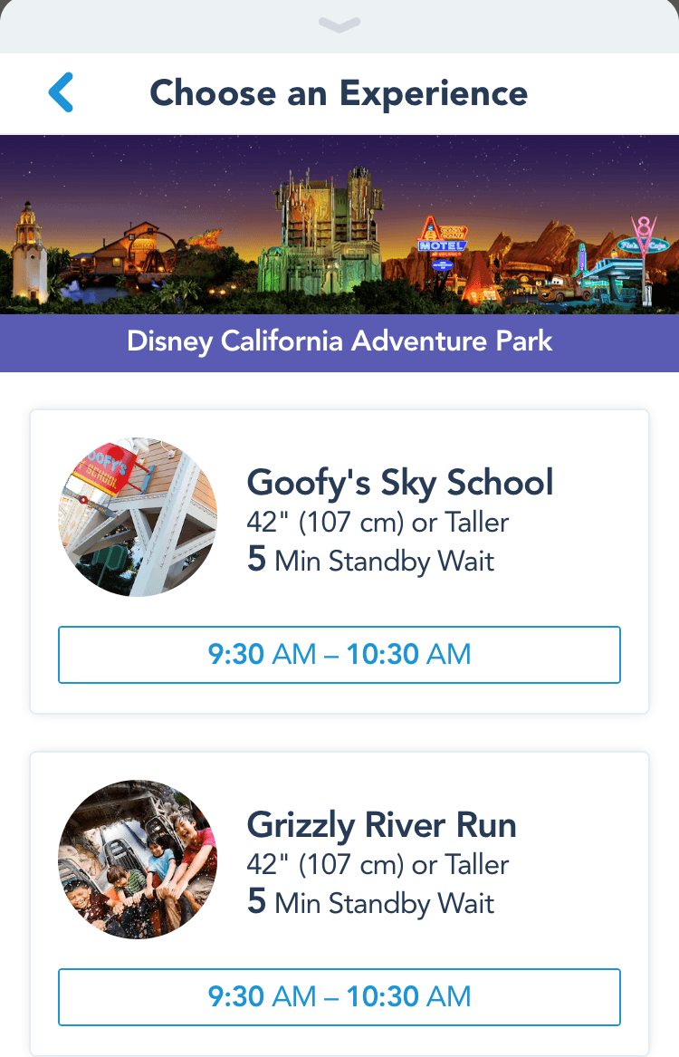 Fast pass screen in the disney my experience app