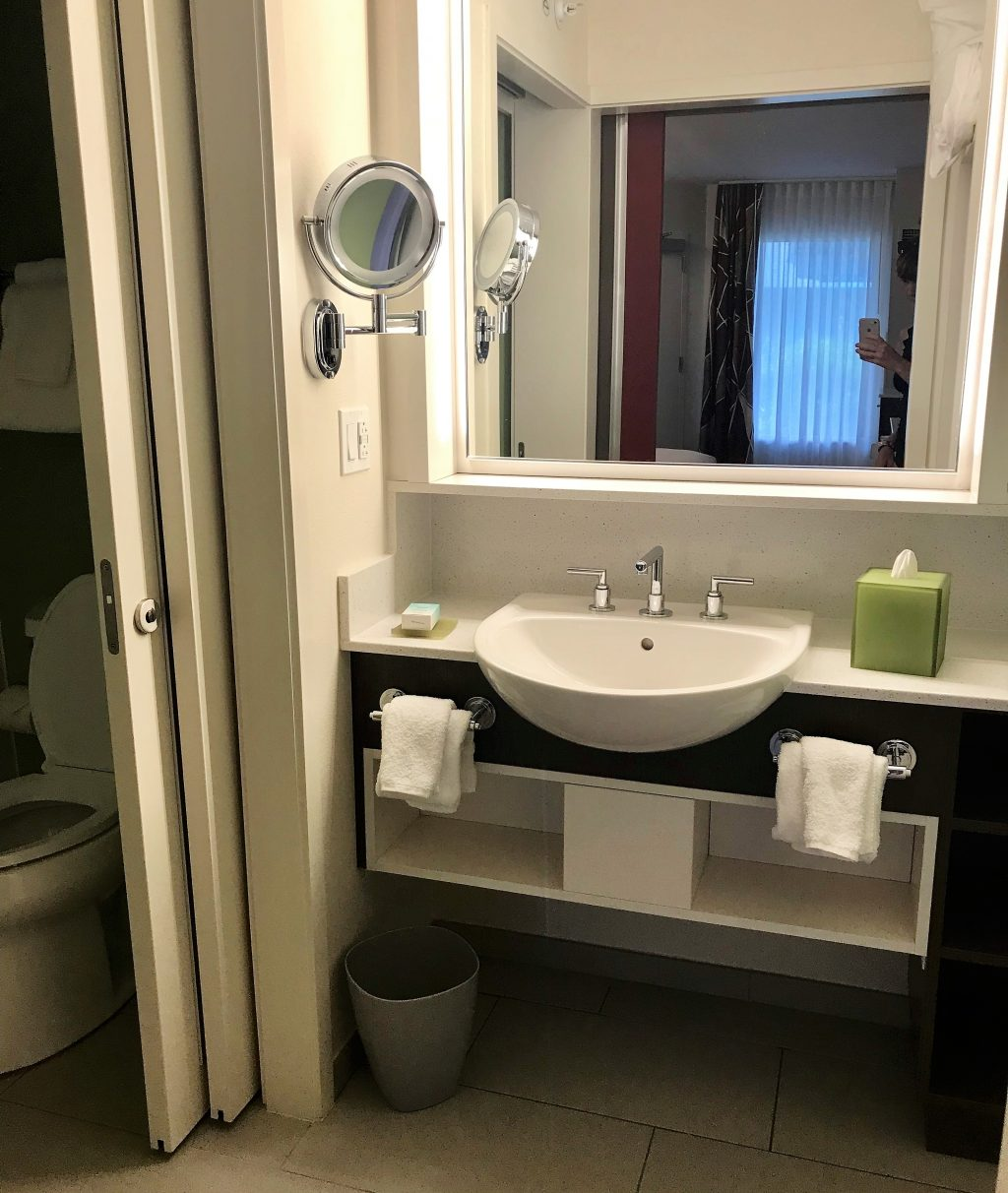 Sink area in an All Star Movies Resort refurbished room