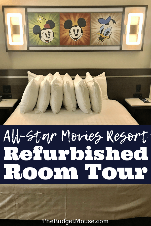 Photo and video tour of the new All Star Movies Resort Refurbished Rooms at Disney World!! Check out all of the thoughtful details in these new hotel rooms at the Disney Value resort. Get Disney World tips and tricks and planning advice for doing Disney World on a budget. #disneyworld #allstarmovies #disneyworldtipsandtricks #disneyworldonabudget #disneyvalueresorts
