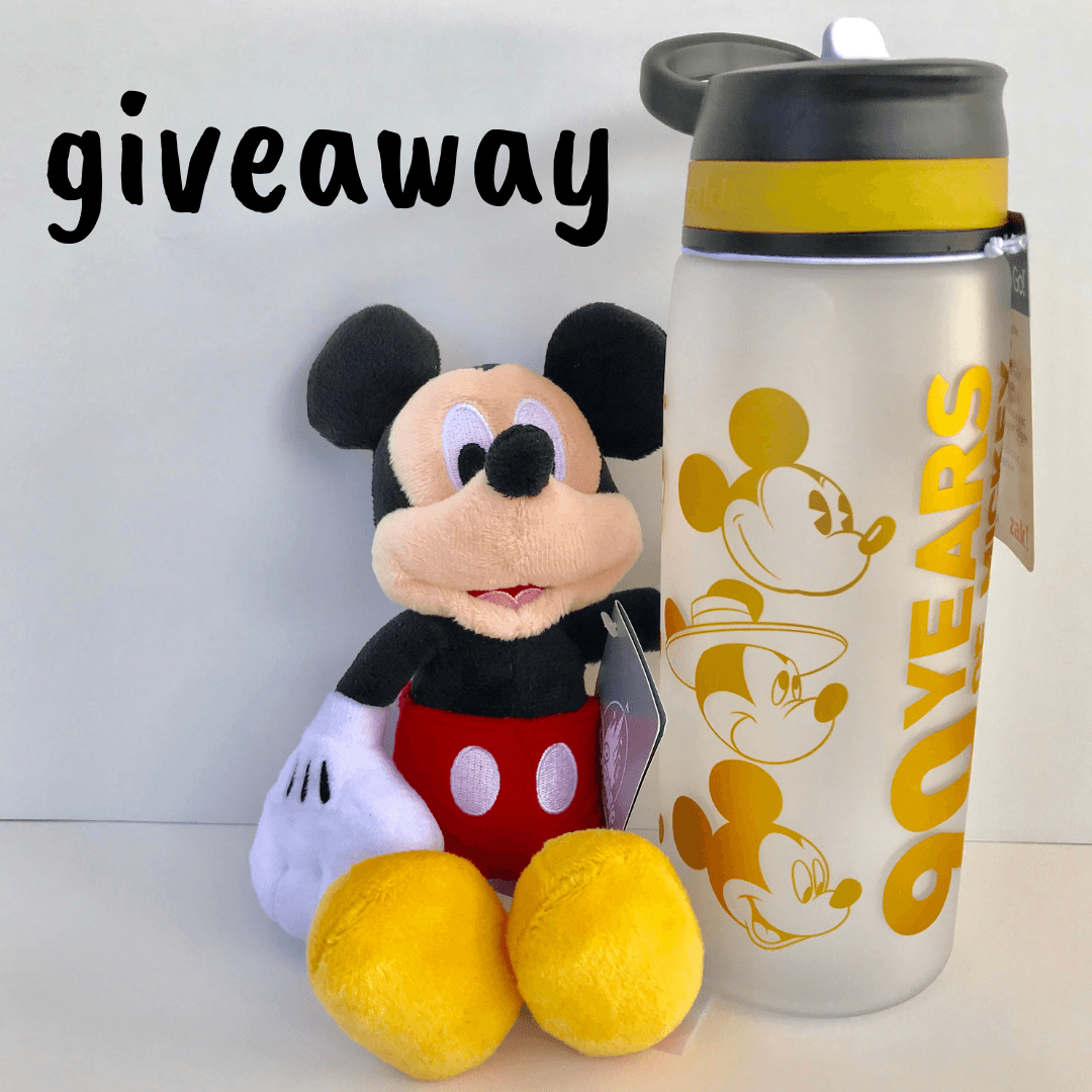 mickey mouse plush and mickey's 90th birthday water bottle giveaway image