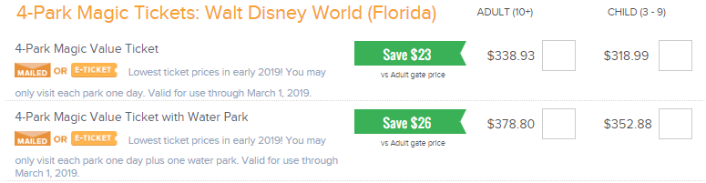 undercover tourist website showing ticket hopper options with pricing and savings