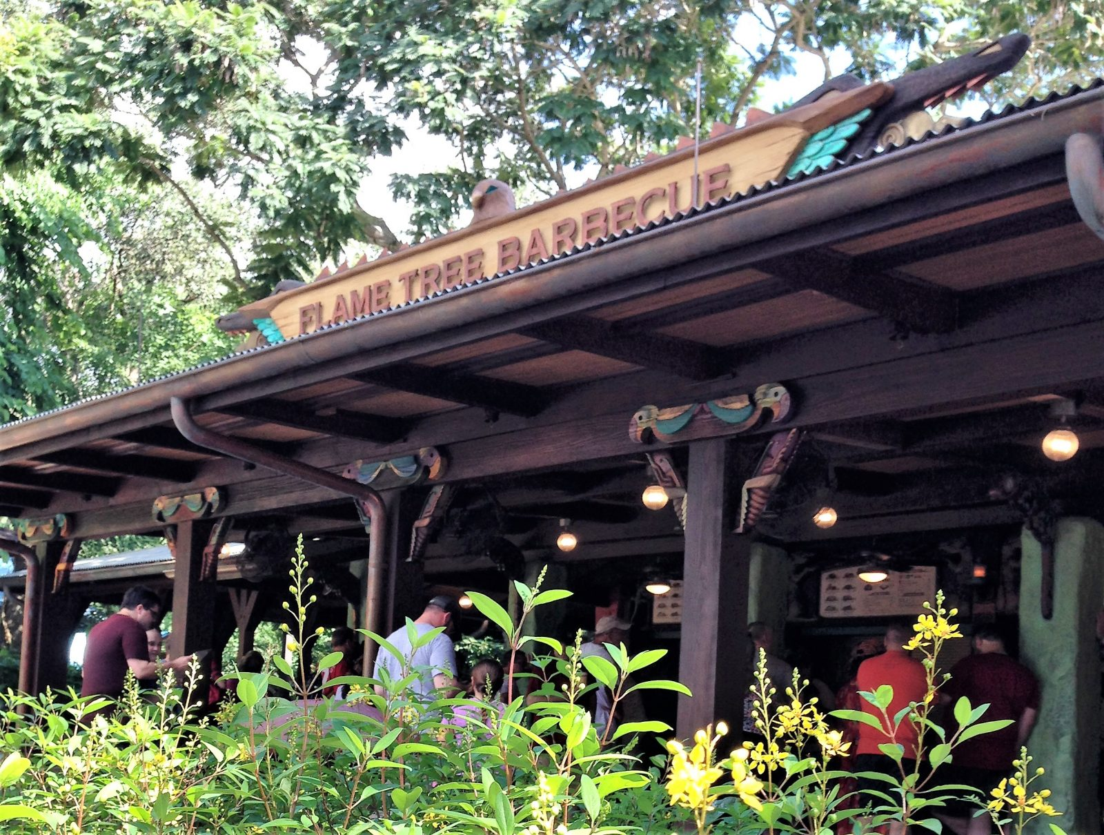 flame tree barbecue sign and exterior
