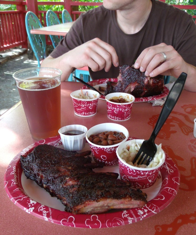 rib meal and beer at flame tree barbecue - disney animal kingdom