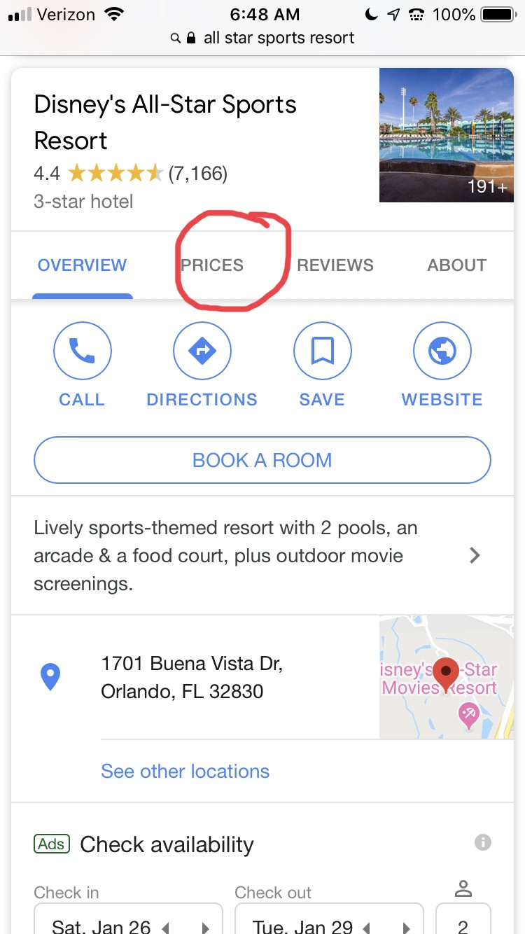 google search result for Disney hotel