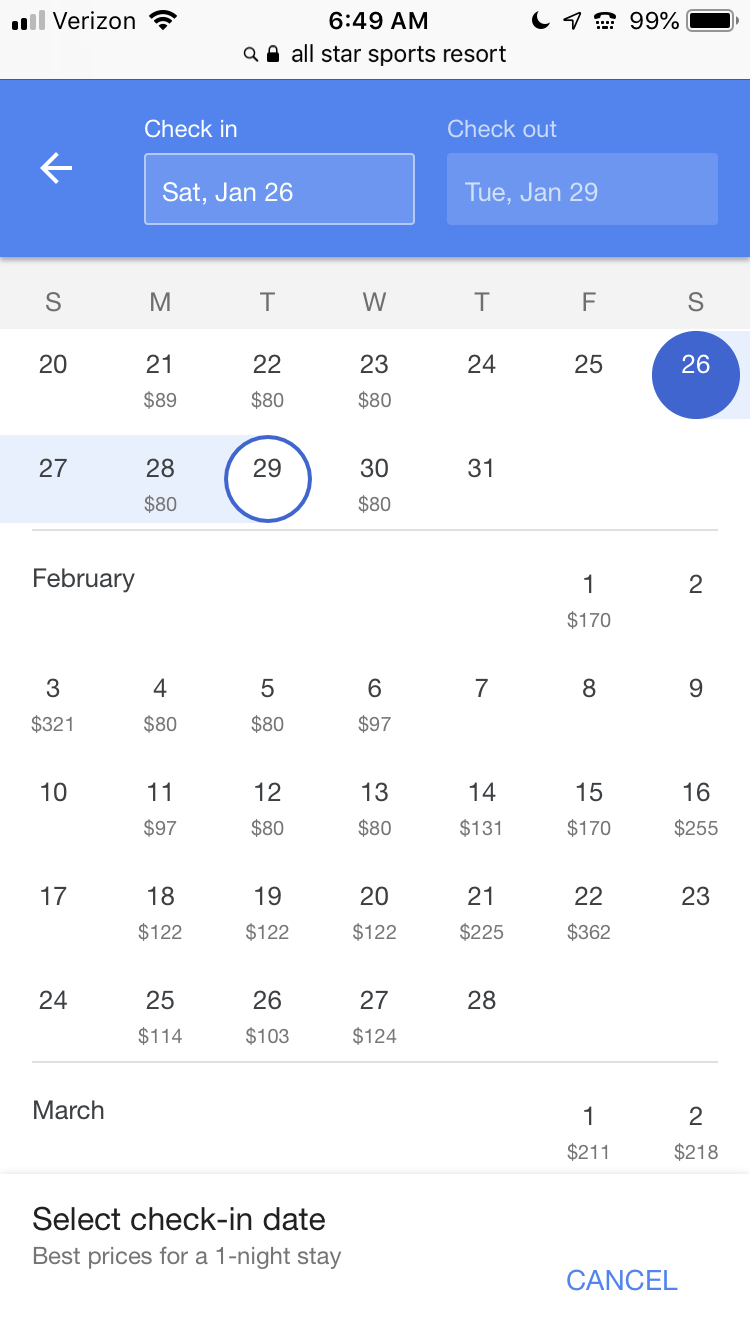 calendar with dates for disney resort