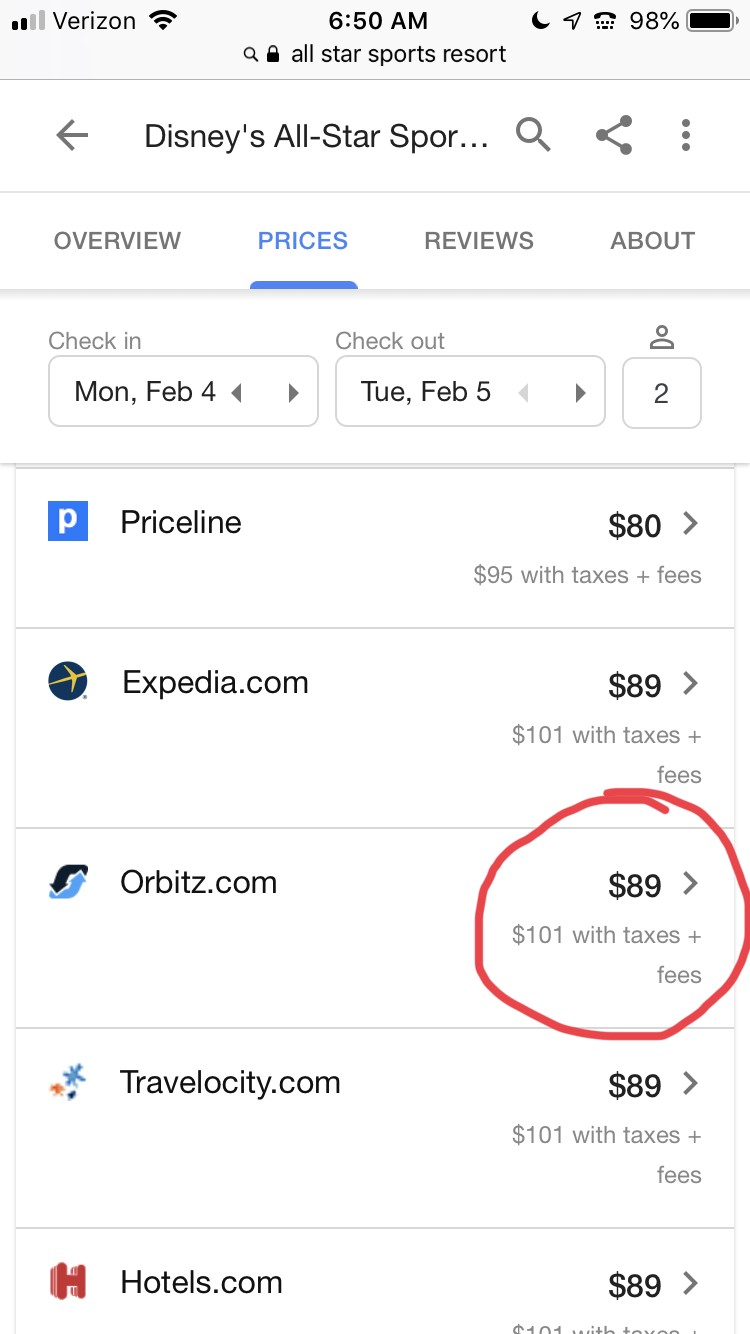 screenshot of cheap disney hotels on Orbitz