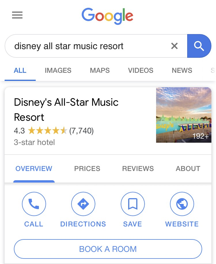 search for disney world resort name