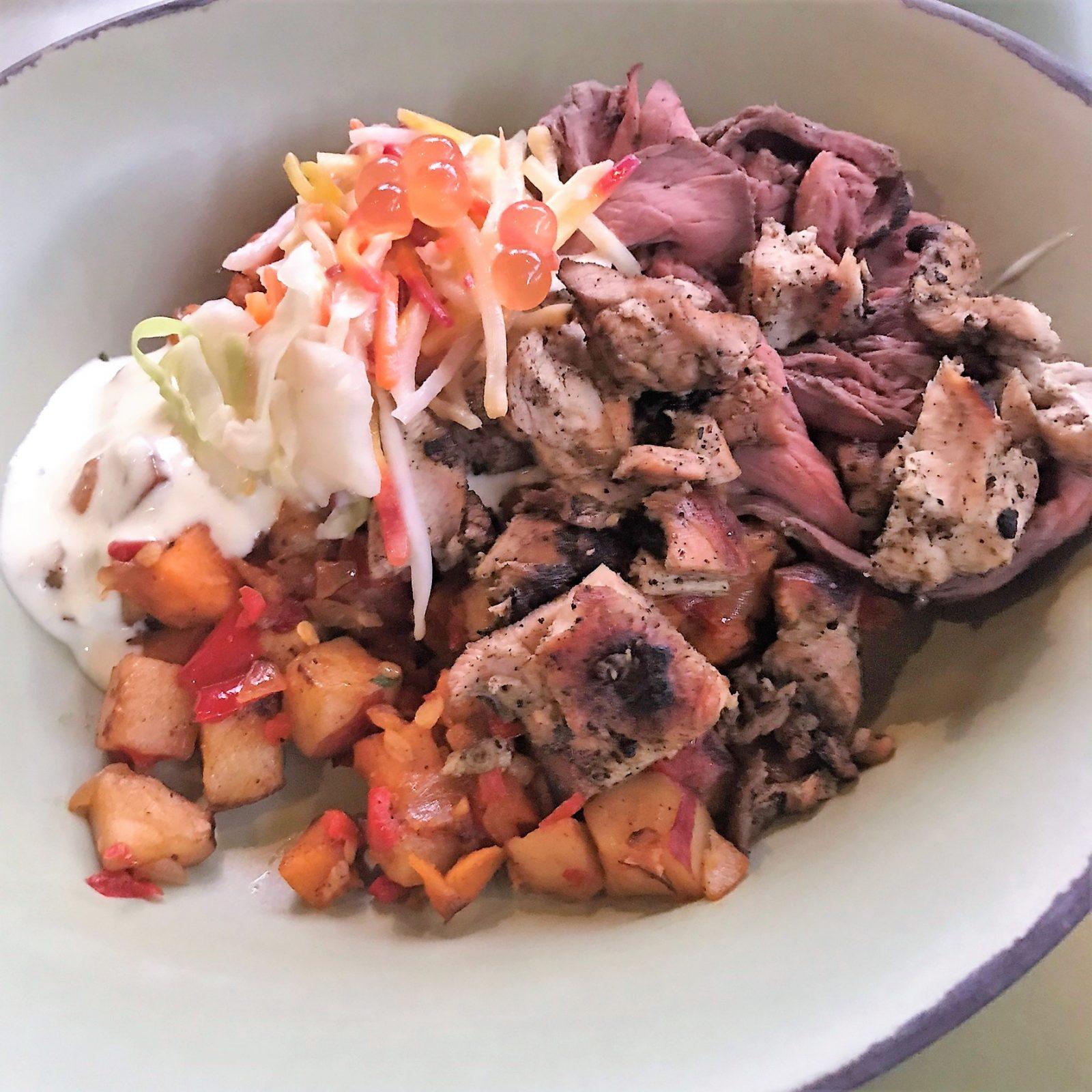 combo bowl on sweet potato hash satuli canteen