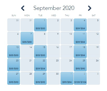 september 2020 calendar with pricing for Mickey's not so scary halloween party