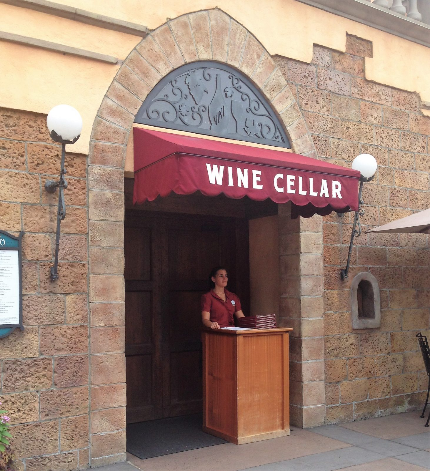 wine cellar entrance with disney cast member outside
