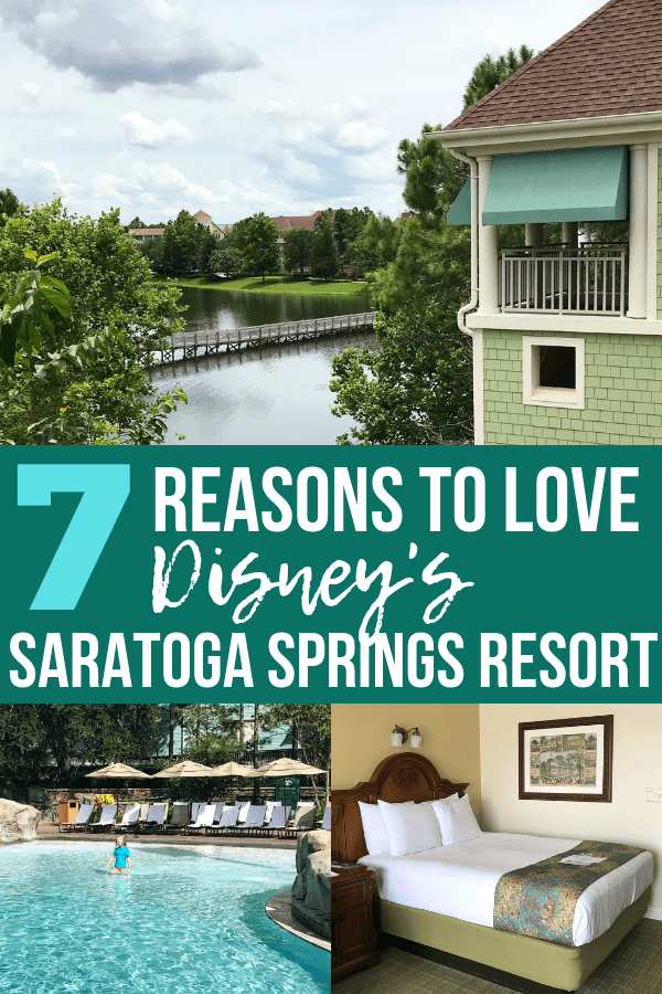 7 reasons to LOVE Saratoga Springs Disney World resort! This Disney Deluxe resort close to Disney Springs has so much to offer and is a great place to stay at the last minute. Check out this review of the pools, dining, location, and amenities at Disney's Saratoga Springs Resort & Spa. #saratogaspringsdisney #disneydeluxeresort #disneyworldtips #disneyplanning