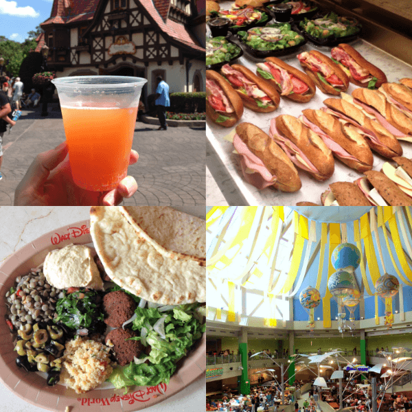 collage of photos including food, drinks, and the food court