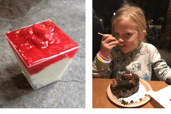 two photos - one of a a strawberry dessert the other photo is of a little girl eating a chocolate dessert